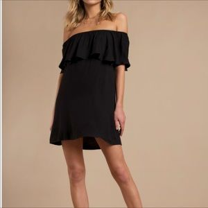 MISSGUIDED BLACK OFF THE SHOULDER MIDI DRESS